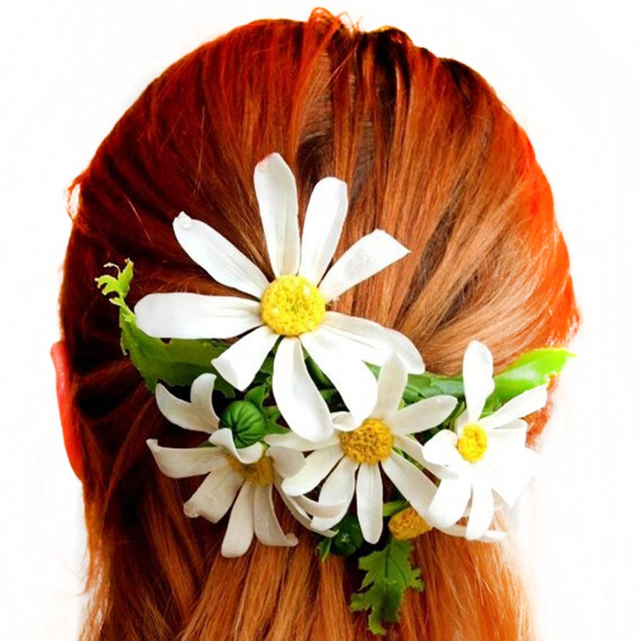 3 5 Black Flower Hair Clip With Flower Center: Artificial Daisy Hair Flowers - Handmade Flowers