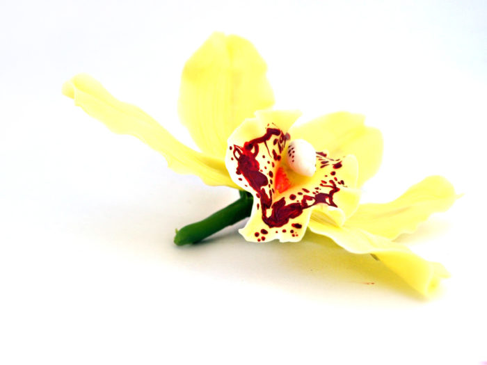 Artificial Yellow Cymbidium Orchid Hair Clip 1
