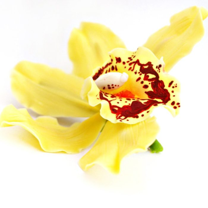 Artificial Yellow Cymbidium Orchid Hair Clip