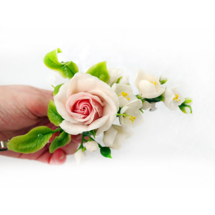 Cream Rose Flower Hair Clip 2