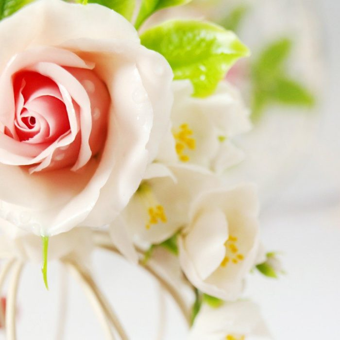 Cream Rose Flower Hair Clip 1