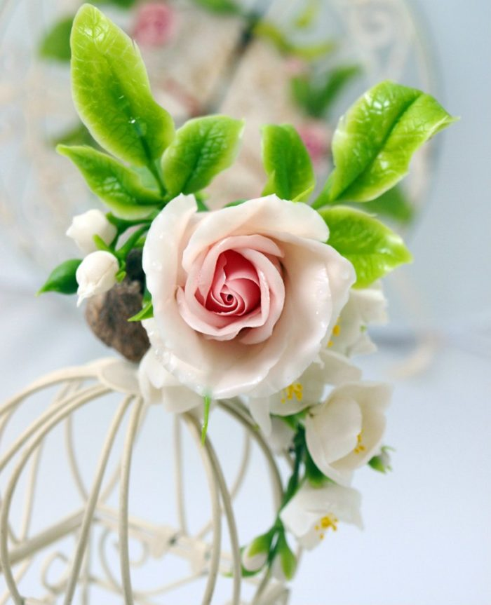 Cream Rose Flower Hair Clip 3