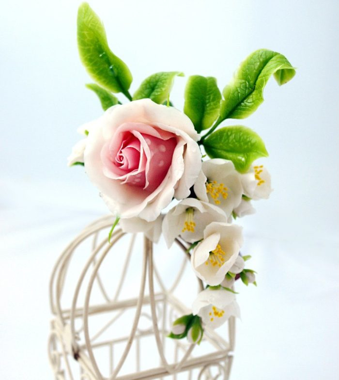 Cream Rose Flower Hair Clip 4