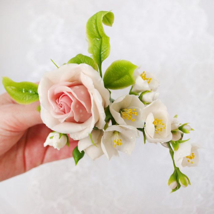 Cream Rose Flower Hair Clip