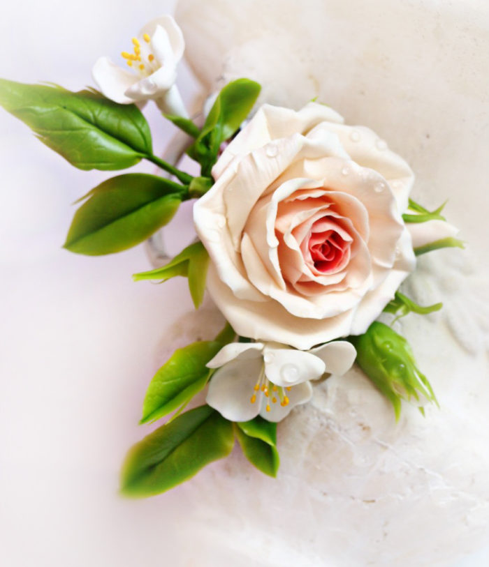 Cream Rose Hair Clip 1