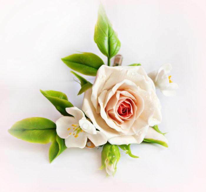 Cream Rose Hair Clip