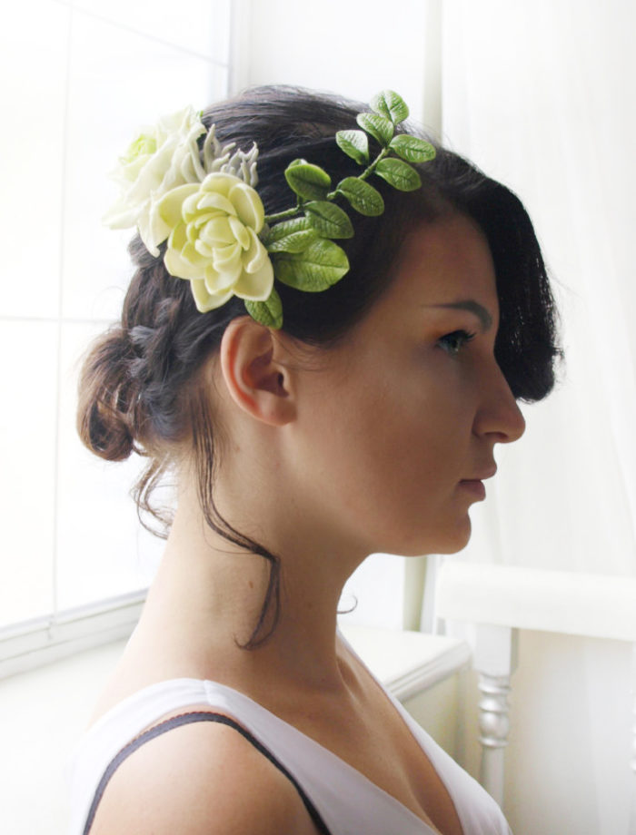 Ivory Bridal Flower Hair Comb 1