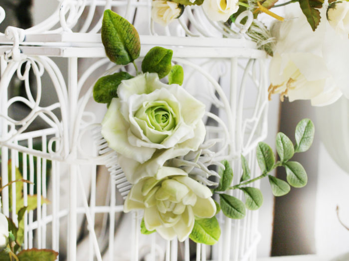 Ivory Bridal Flower Hair Comb 2