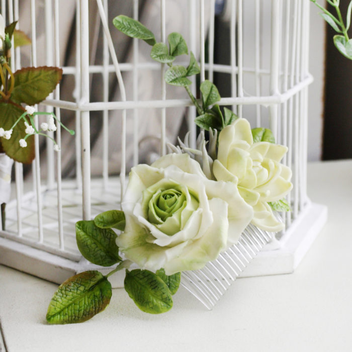 Ivory Bridal Flower Hair Comb