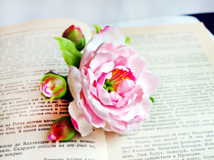 Pink Peony Hair Accessories 3