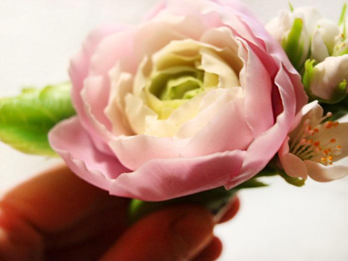 Pink Ranunculus Hair Clip 2