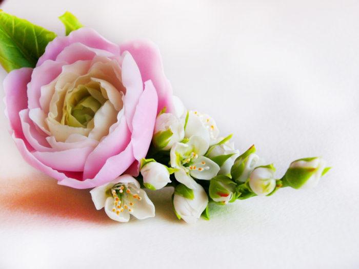 Pink Ranunculus Hair Clip 1