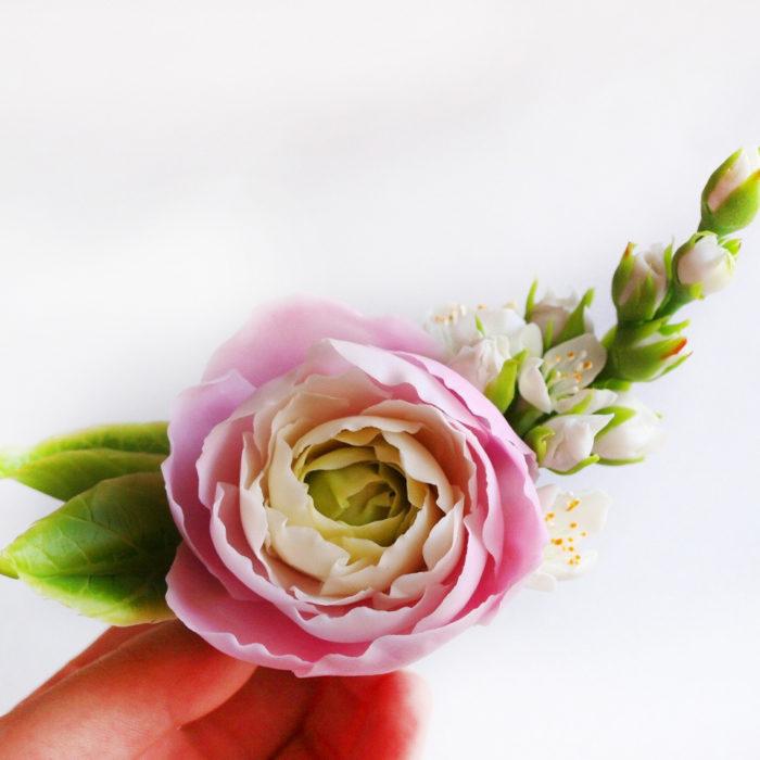 Pink Ranunculus Hair Clip