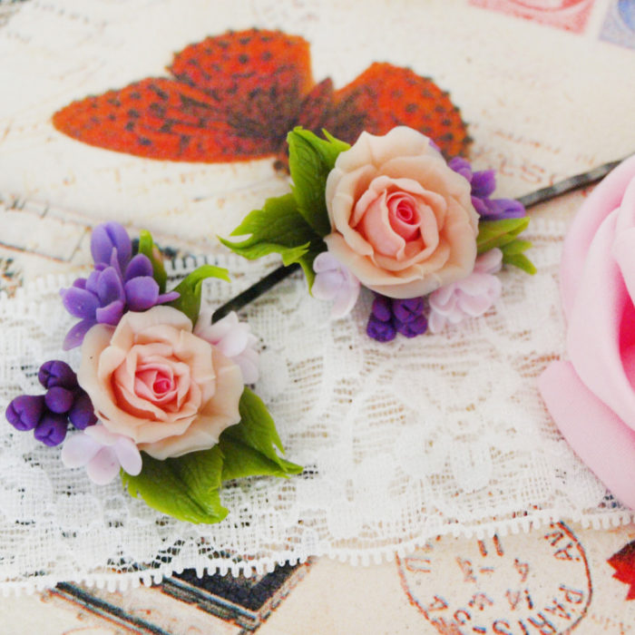 Rose Flower Hair Pins For Weddings