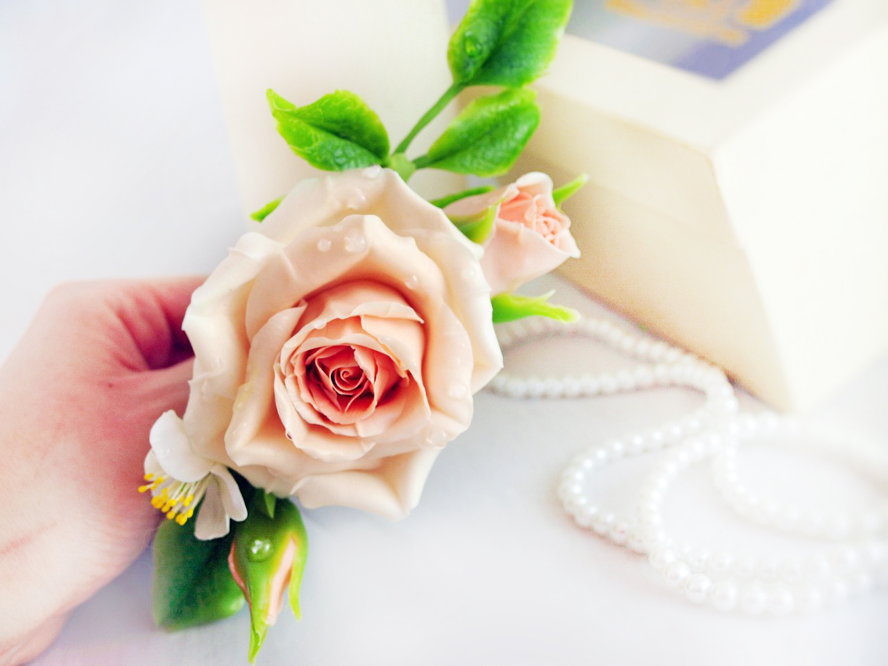 Pink Rose Hair Clip Bridal Artificial Flowers Oriflowers