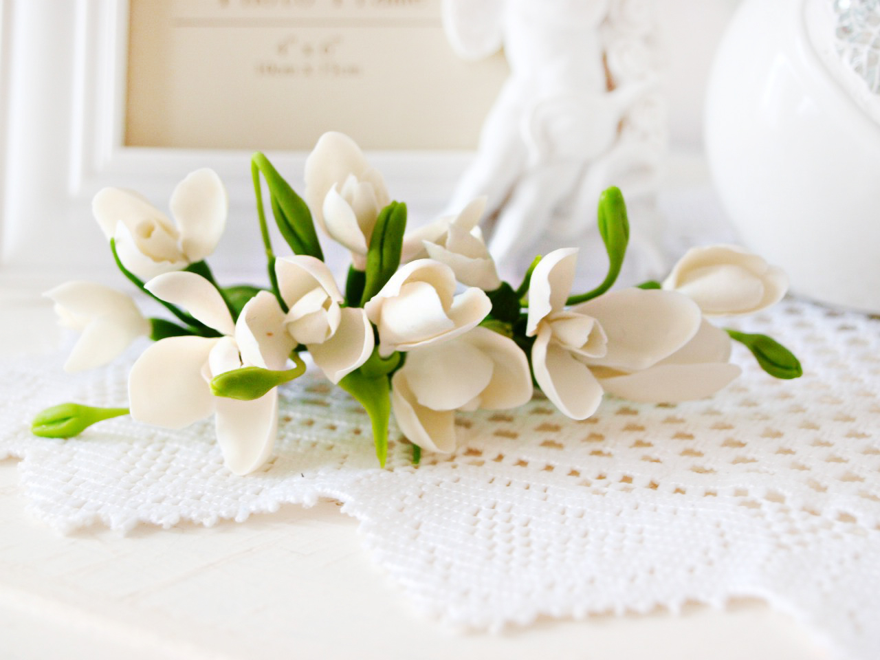 Snowdrop Hair Clip Spring Handmade Flowers Oriflowers