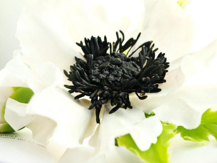 White Anemone Hair Clip 1