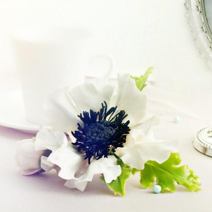 White Anemone Hair Clip