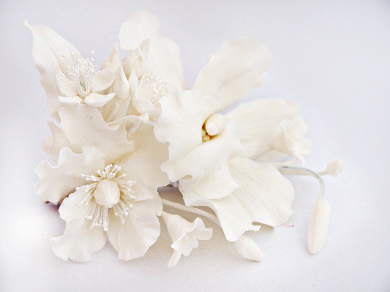 White Flower Hair Clip Handmade Artificial Flowers