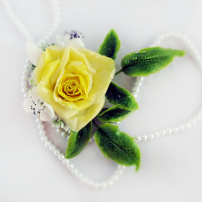 Yellow Rose Hair Piece