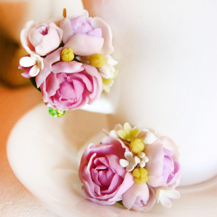 Pink Peony Earrings