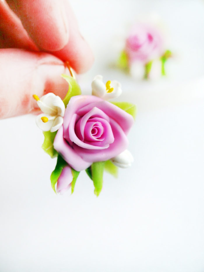 Pink Rose Flower Earrings 2