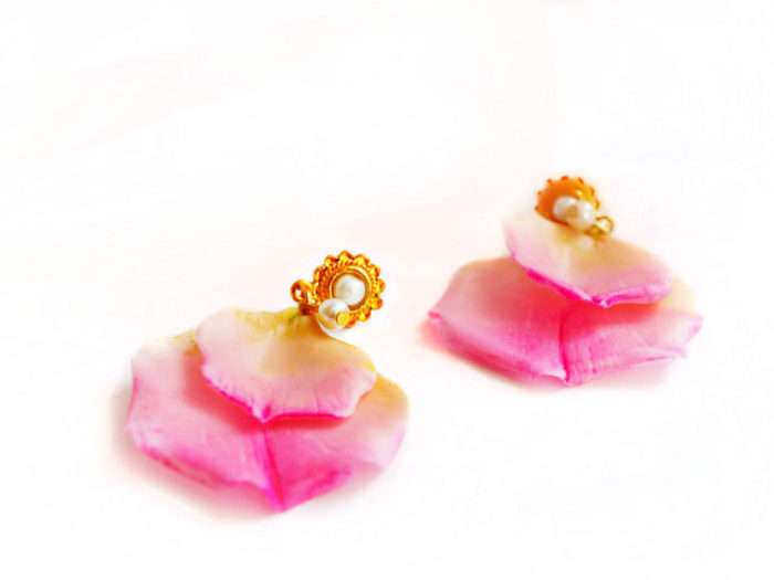 Pink Rose Petal Earrings 2
