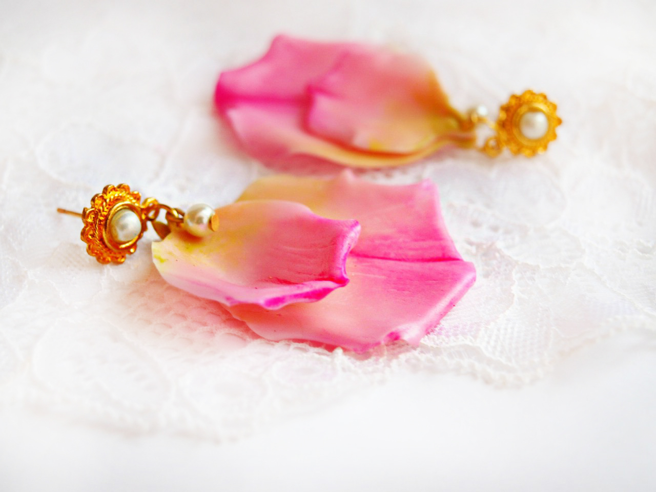 Pink Rose Petal Earrings 1