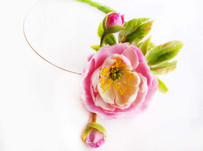 Pink Peony Flower Necklace 1