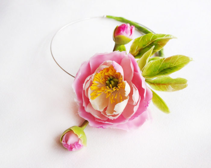 Pink Peony Flower Necklace 3