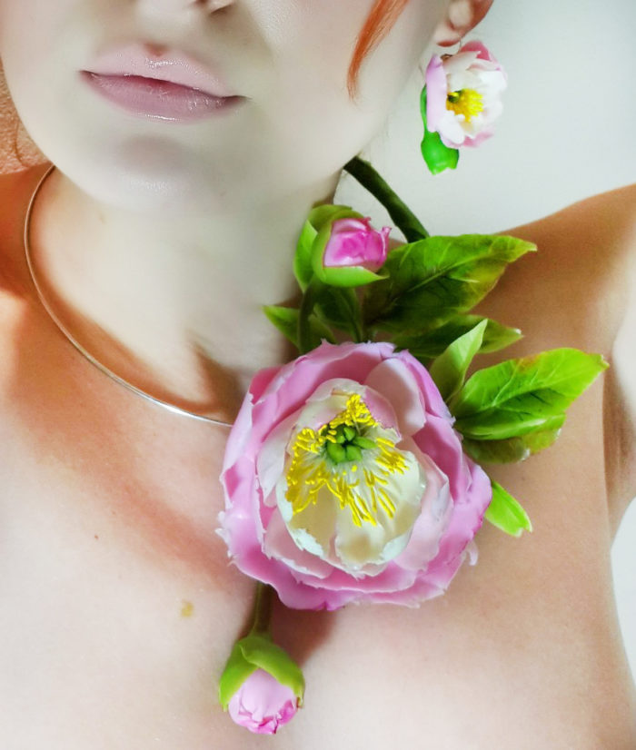 Pink Peony Flower Necklace