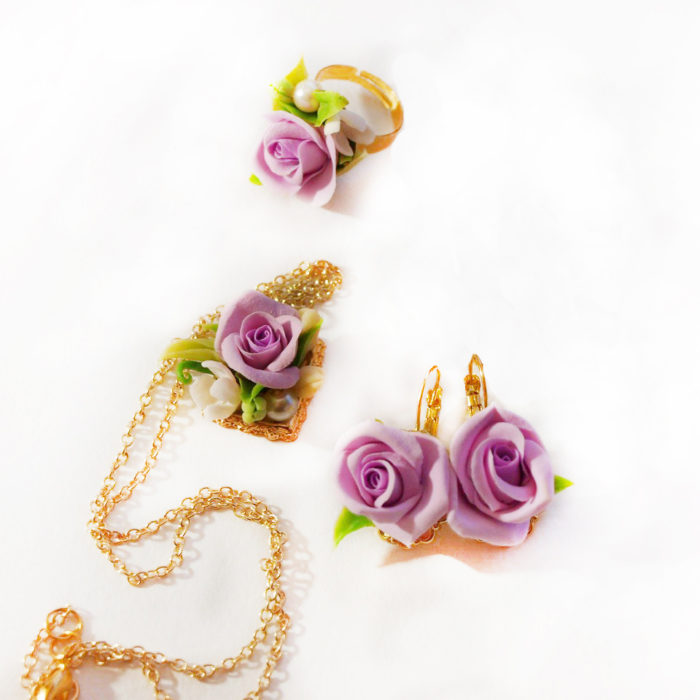 Purple Rose Jewelry Set