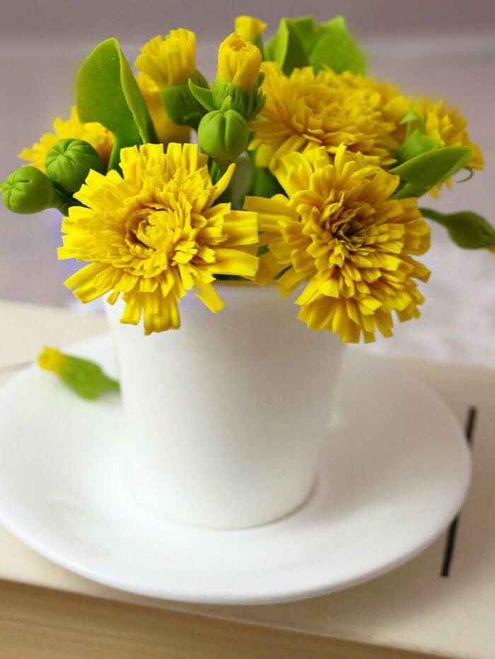 Artificial Dandelion Flowers in Cup 4 | Oriflowers