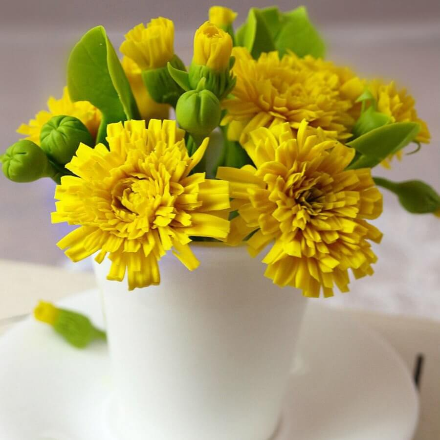 Artificial Dandelion Flowers In Cup Handmade With Love Oriflowers