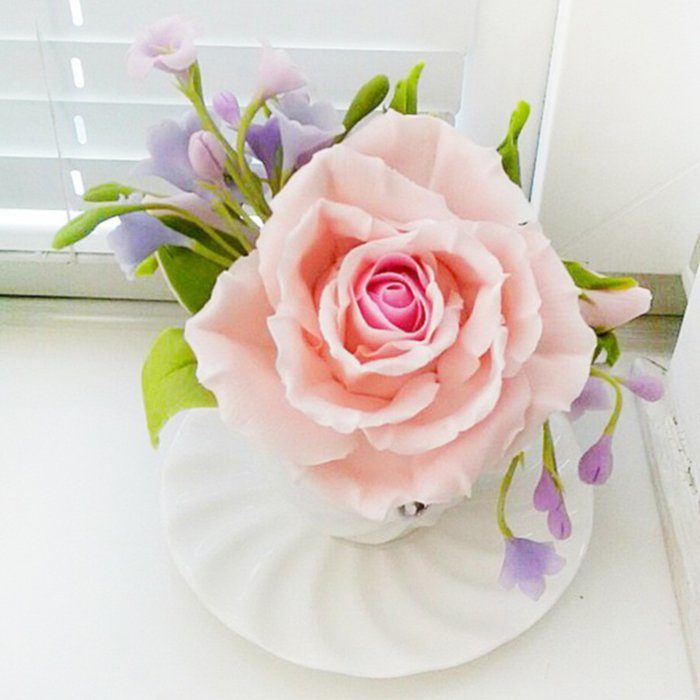 Artificial Flower Arrangement Pink Rose Lilac | Oriflowers