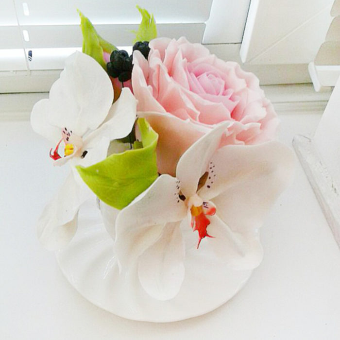 Artificial Flower Arrangement with White Orchids and Pink Rose | Oriflowers