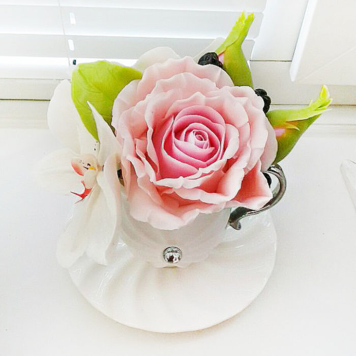 Artificial Flower Arrangement with Pink Rose and White Orchid | Oriflowers