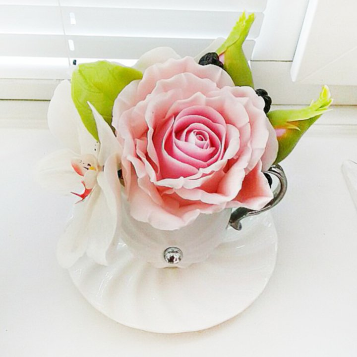 Artificial Flower Arrangement with Pink Rose and White Orchid ...