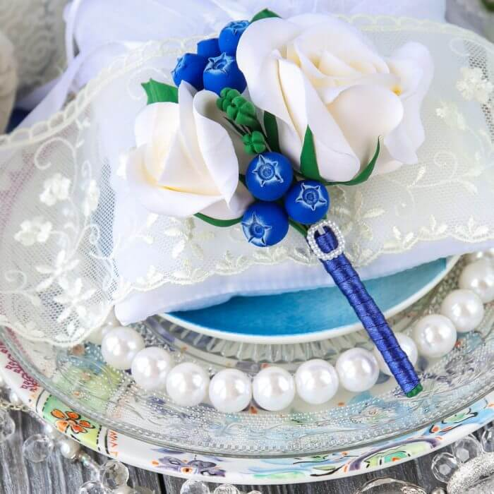 Blue And White Boutonniere 3 | Oriflowers