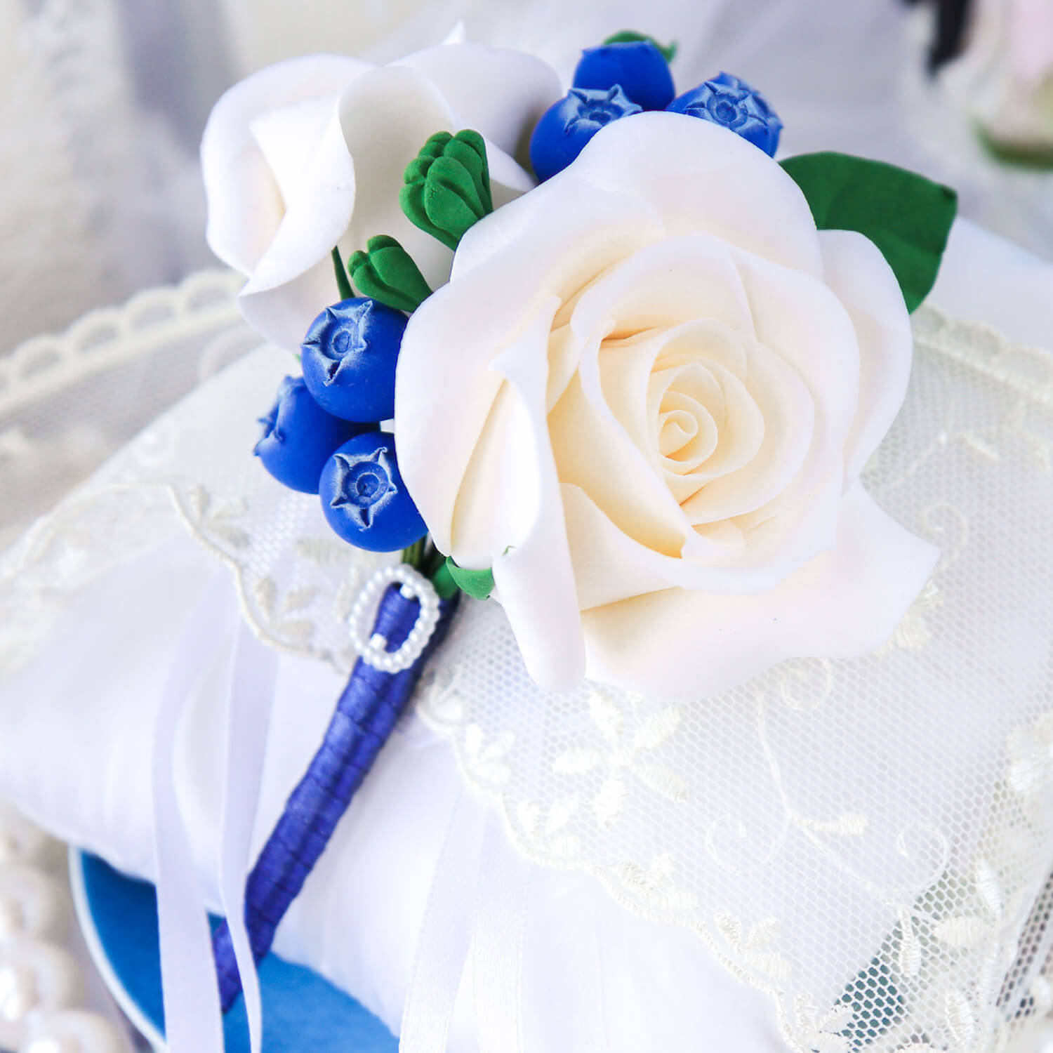 Blue And White Boutonniere Handmade With Love Oriflowers