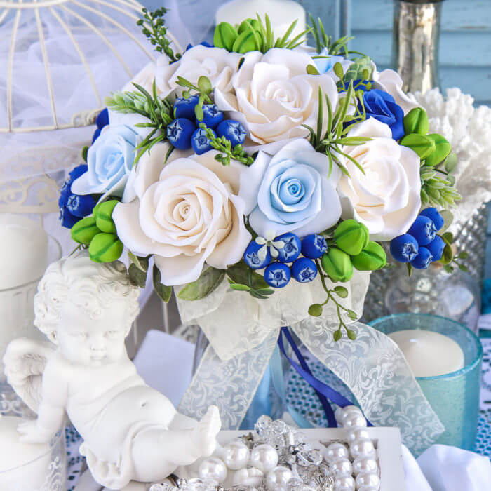 Blue And White Bridal Bouquet 1 | Oriflowers