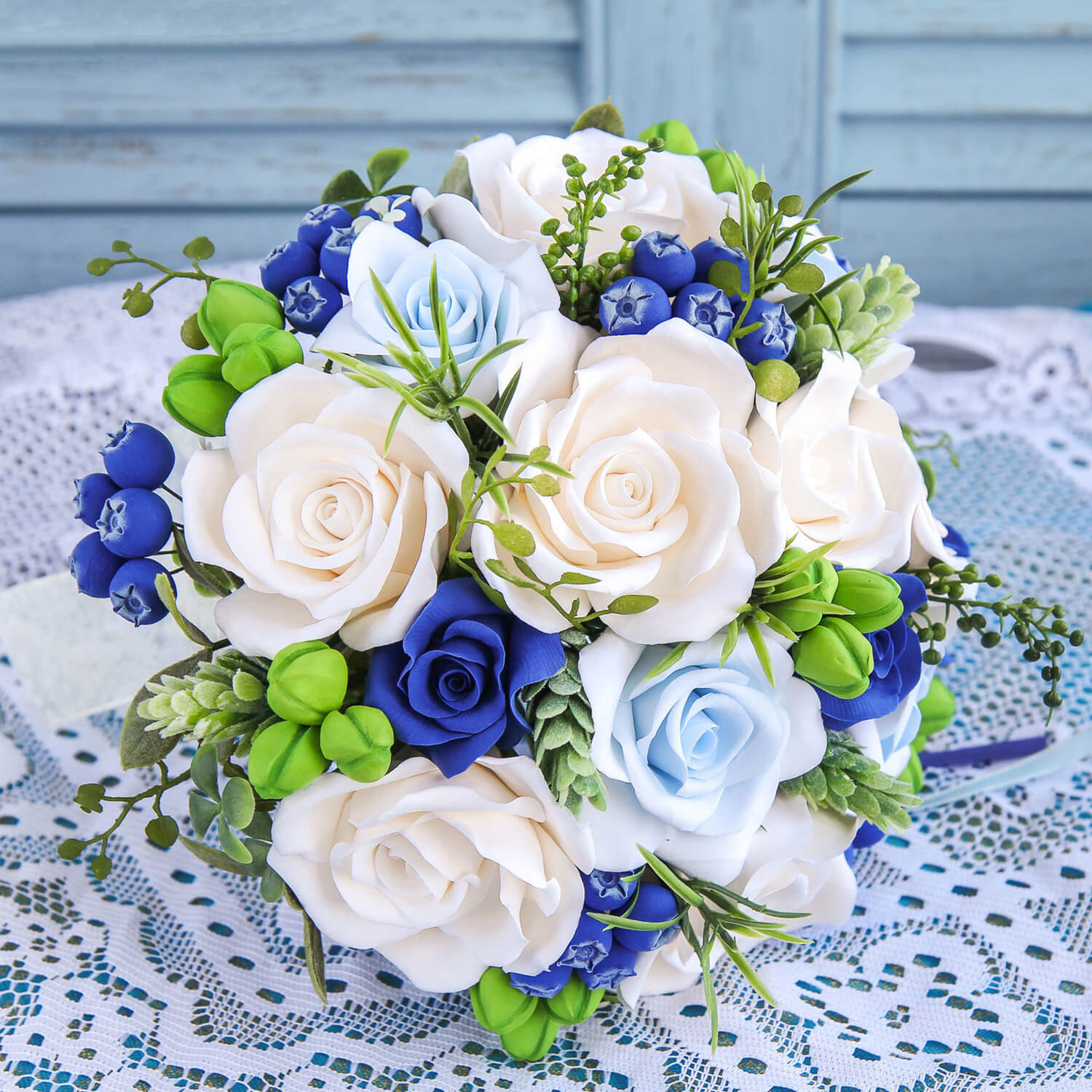 Blue And White Bridal Bouquet Handmade With Love Oriflowers