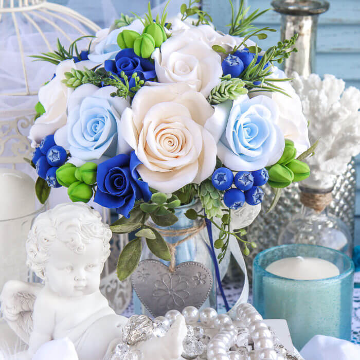 Blue And White Bridal Bouquet 3 | Oriflowers