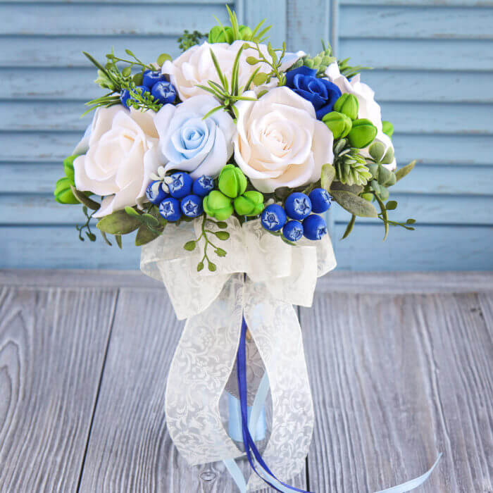 Blue And White Bridal Bouquet | Oriflowers
