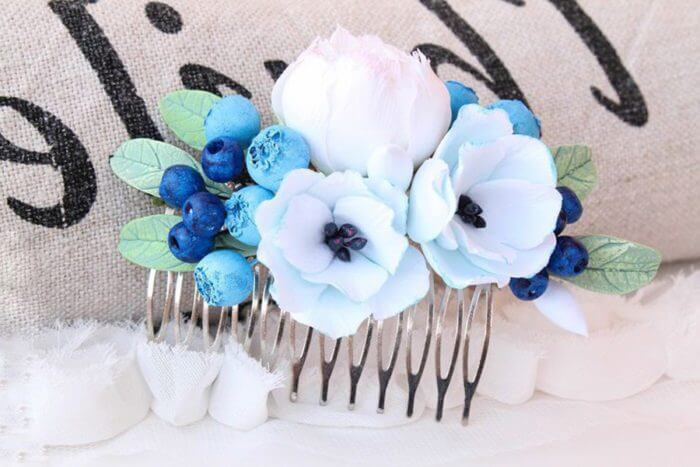 Blue Flower Hair Comb 1 | Oriflowers