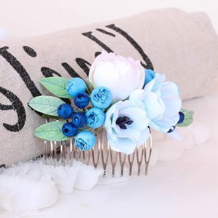 Blue Flower Hair Comb | Oriflowers