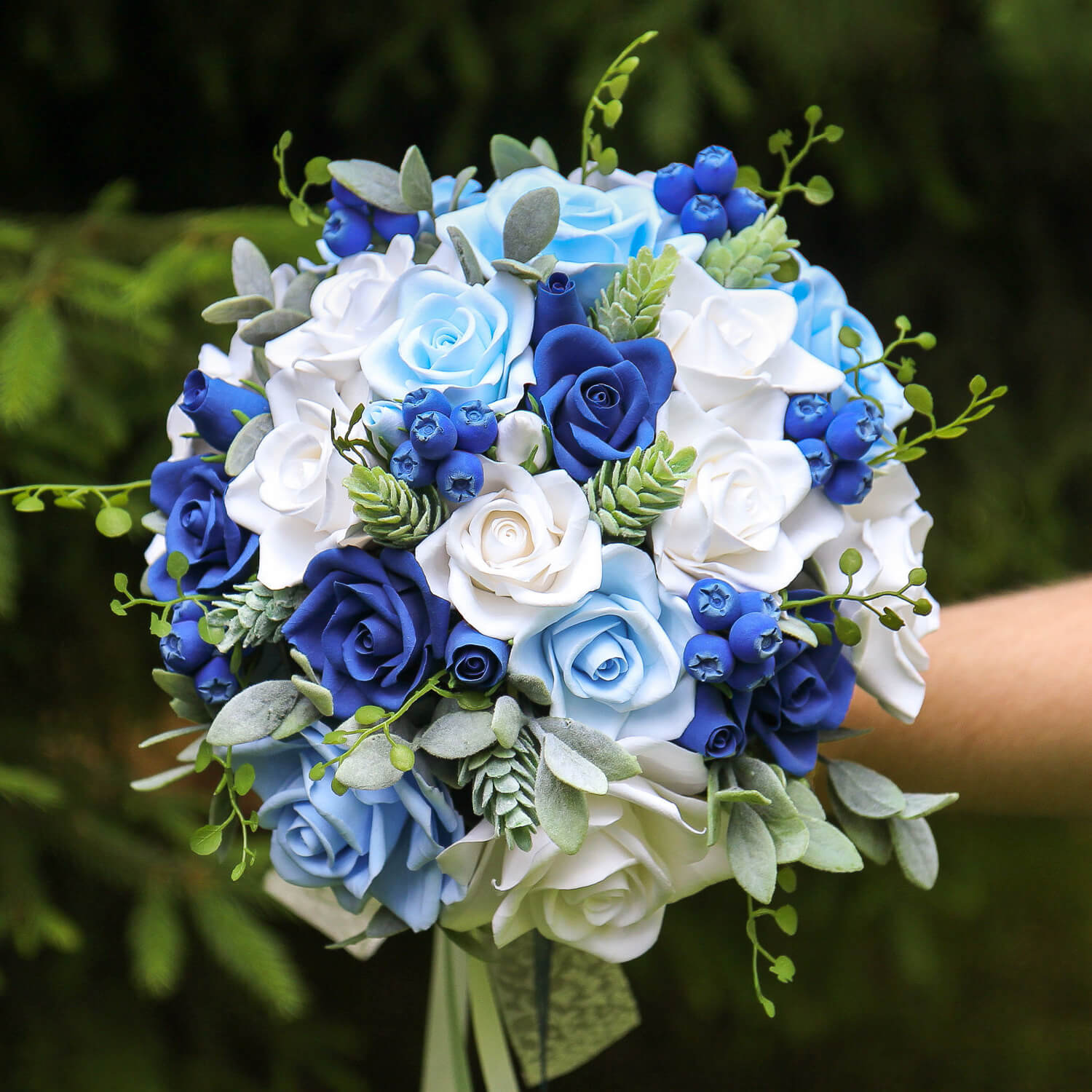 Blue Roses Wedding Bouquet - Handmade With Love