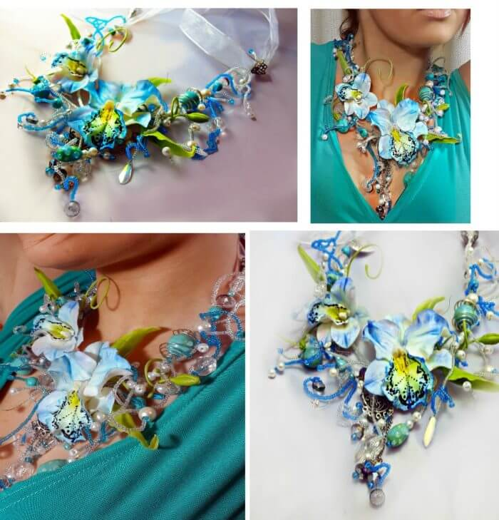 Blue Statement Necklace | Oriflowers