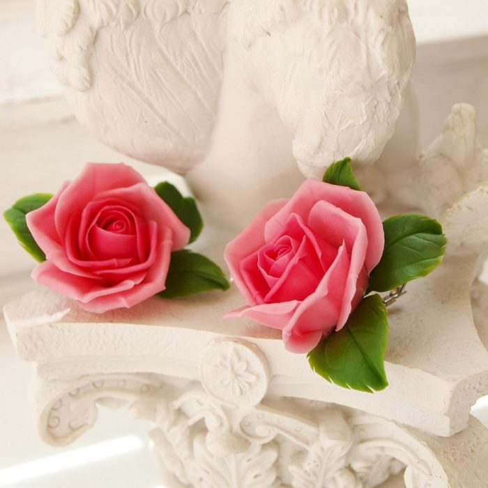 Blush Pink Rose Flower Earrings | Oriflowers