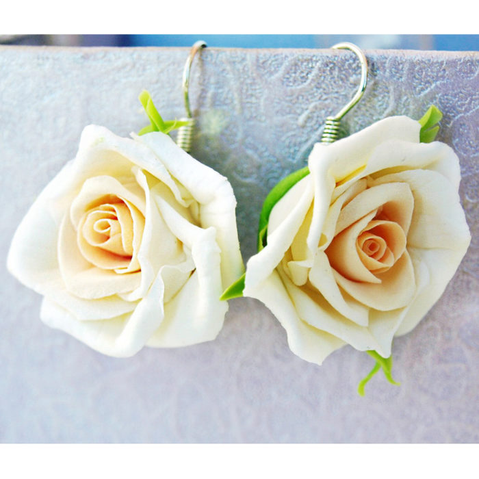Cream Jewelry, Handmade Rose Earrings | Oriflowers